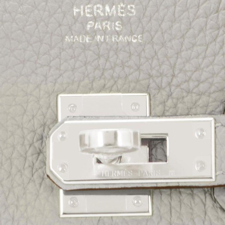 Hermes Birkin 25cm Gris Perle Togo Bag Palladium Hardware Pearl Gray Baby Birkin For Sale 5
