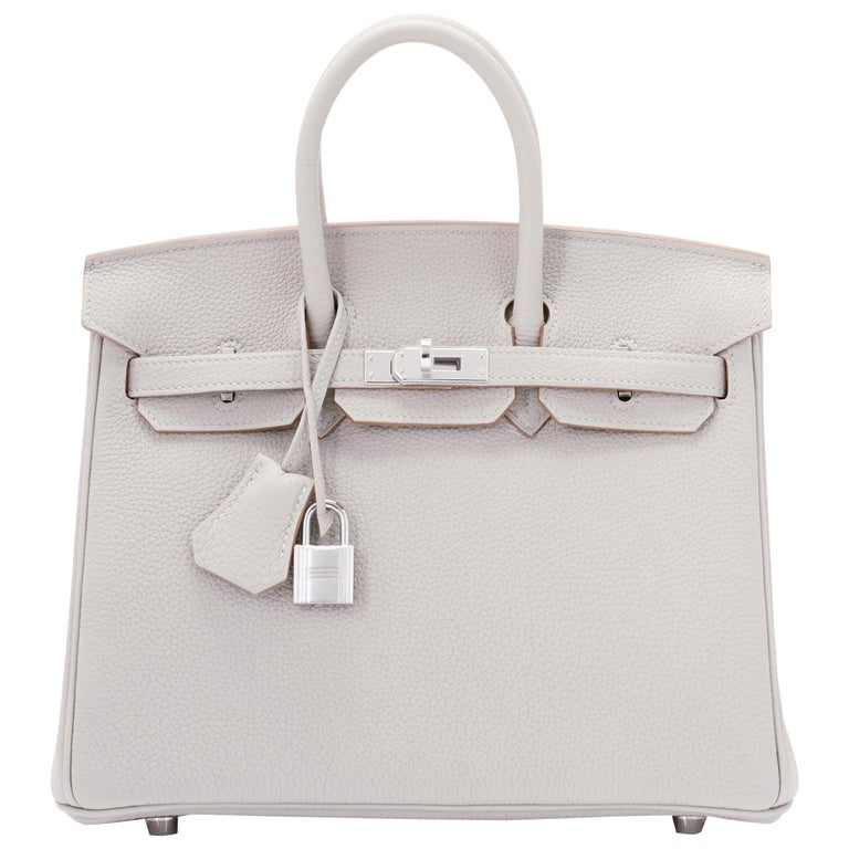 Hermes Birkin 25cm Gris Perle Togo Bag Palladium Hardware Pearl Gray Baby Birkin For Sale