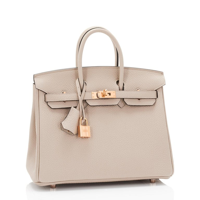 Hermes Birkin 25cm Gris Tourterelle Togo Bag Rose Gold Hardware  Brand New in Box. Store Fresh. Pristine Condition (with plastic on hardware)  Perfect gift! Comes full set with keys, lock, clochette, a sleeper for the bag, rain protector, and Hermes