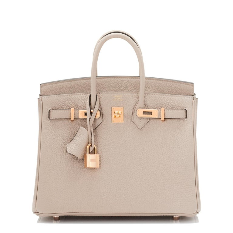 Hermes Birkin 25cm Gris Tourterelle Togo Bag Rose Gold Hardware In New Condition For Sale In New York, NY