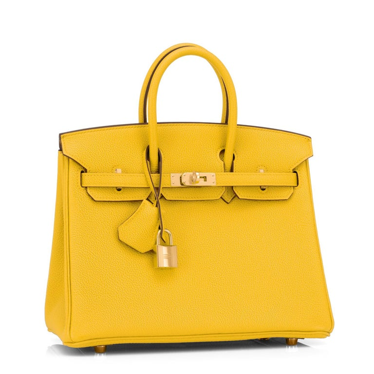 Hermes Birkin 25cm Jaune de Naples Gold Hardware Bag NEW Brand New in Box. Store fresh. Pristine Condition (with plastic on hardware) Perfect gift!  Comes with keys, lock, clochette, a sleeper for the bag, rain protector, and Hermes box.   Jaune de