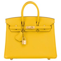 Hermes Birkin 25cm Jaune de Naples Gold Hardware Yellow Bag NEW