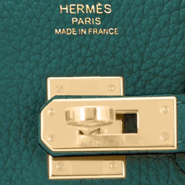 Hermes Birkin 25cm Malachite Jewel Tone Green Gold Hardware Bag Y Stamp, 2020 For Sale 5