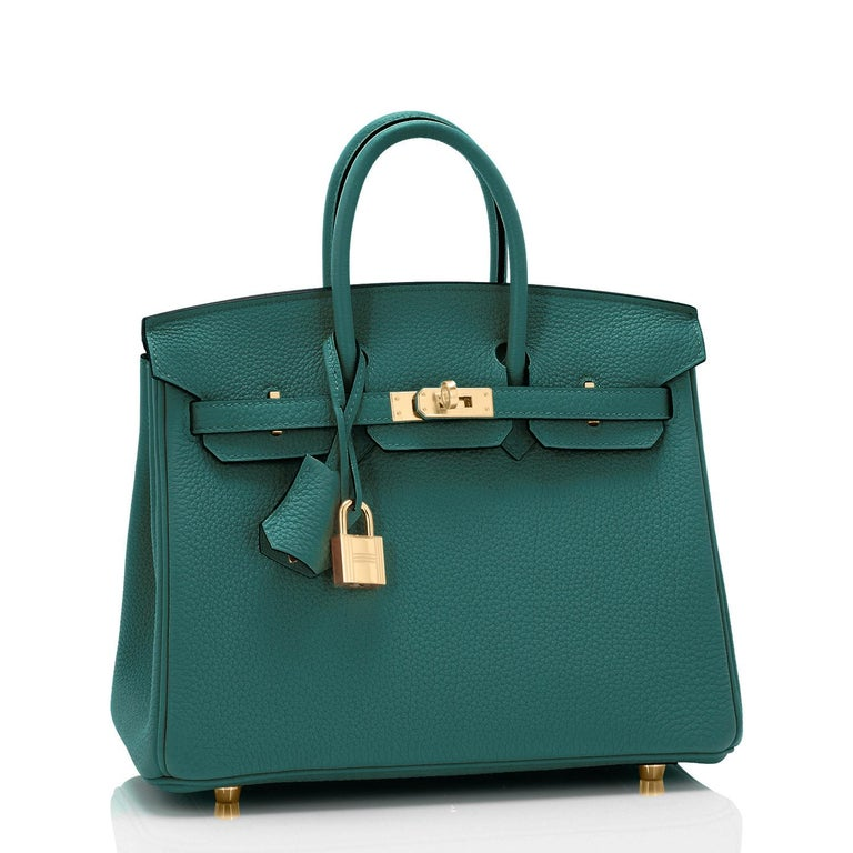 Hermes Malachite 25cm Birkin Jewel Tone Green Togo Gold Hardware Y Stamp, 2020 Just purchased from Hermes store; bag bears new interior 2020 Stamp. Brand New in Box. Store fresh. Pristine Condition (with plastic on hardware) Perfect gift!  Comes