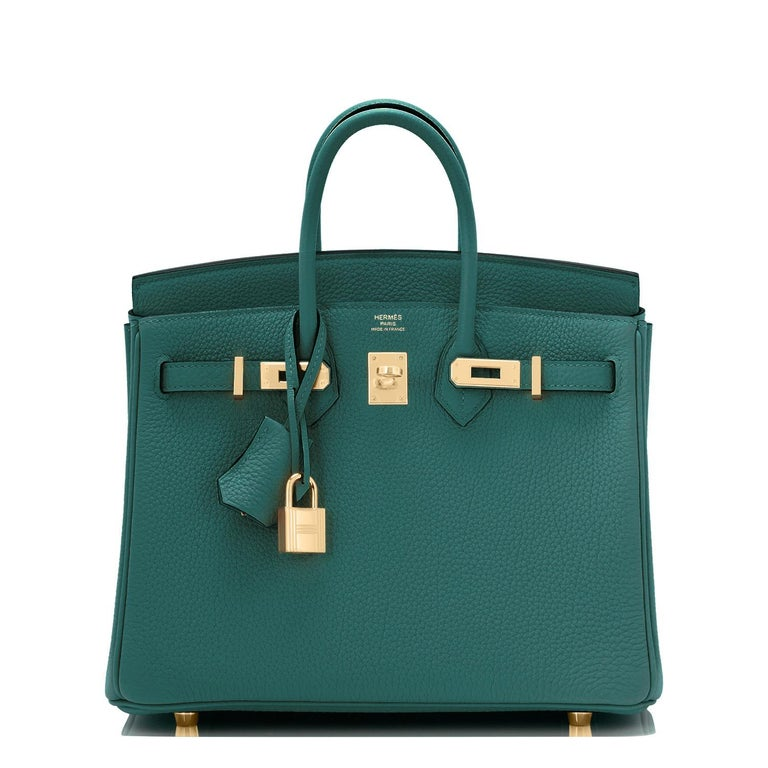 Blue Hermes Birkin 25cm Malachite Jewel Tone Green Gold Hardware Bag Y Stamp, 2020 For Sale
