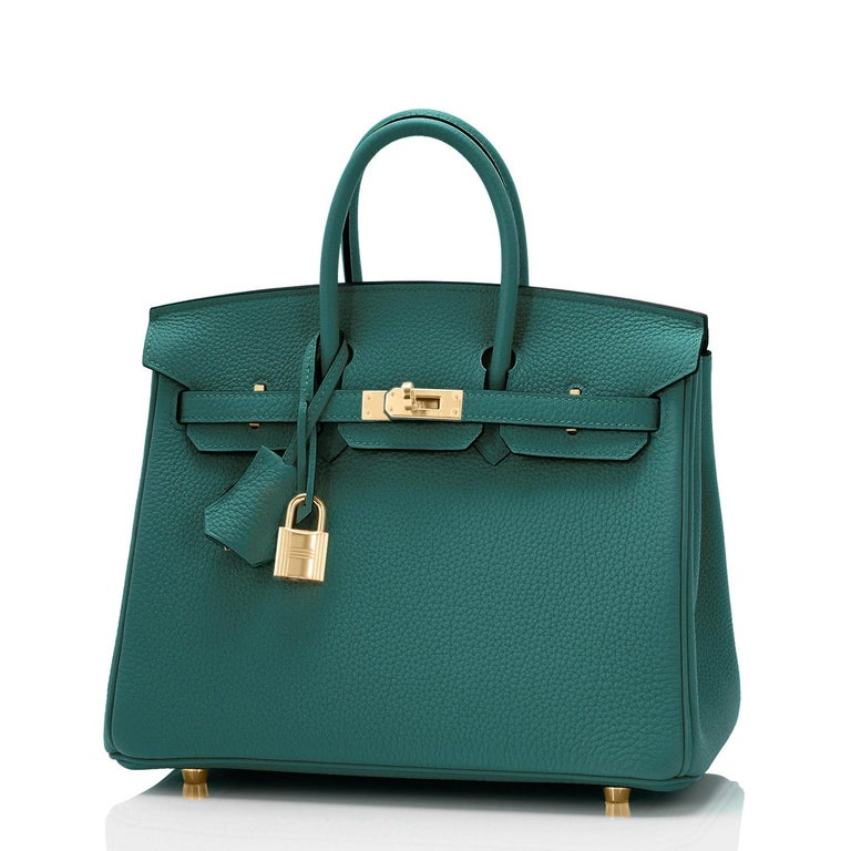 Hermes Birkin 25cm Malachite Jewel Tone Green Gold Hardware Bag Y Stamp, 2020 In New Condition For Sale In New York, NY