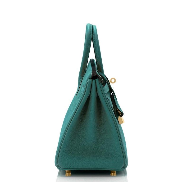Hermes Birkin 25cm Malachite Jewel Tone Green Gold Hardware Bag Y Stamp, 2020 For Sale 1