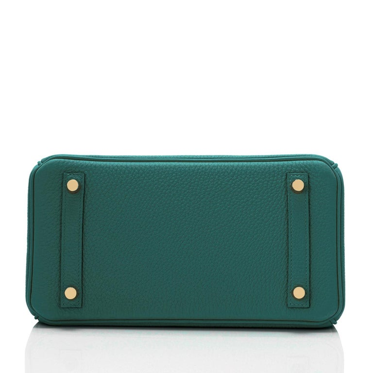 Hermes Birkin 25cm Malachite Jewel Tone Green Gold Hardware Bag Y Stamp, 2020 For Sale 2