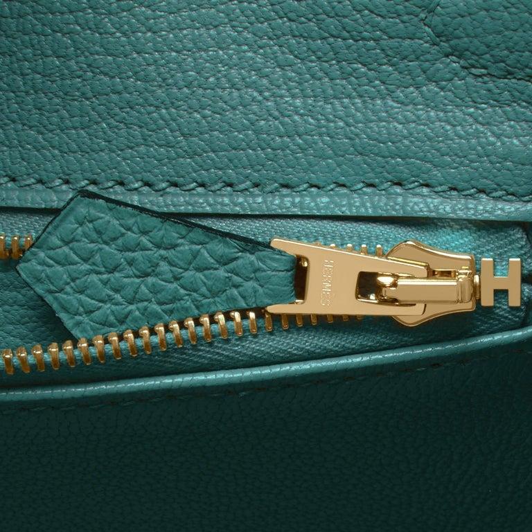 Hermes Birkin 25cm Malachite Jewel Tone Green Gold Hardware Bag Y Stamp, 2020 For Sale 4