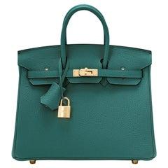 Hermes Birkin 25cm Malachite Jewel Tone Green Gold Hardware Bag Y Stamp, 2020