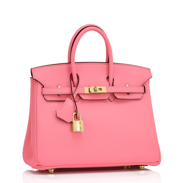 Guaranteed Authentic Hermes Birkin 25cm Rose Azalee Gold Hardware Azalea Bag  Grail alert! So rare! New or Never Worn. Pristine Condition (with plastic on hardware)  Comes with clochette, lock, keys, raincoat, dust bag, and an Hermes box. Here it