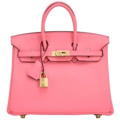 Hermes Birkin 25cm Rose Azalee Gold Hardware Azalea Pink Bag Grail NEW