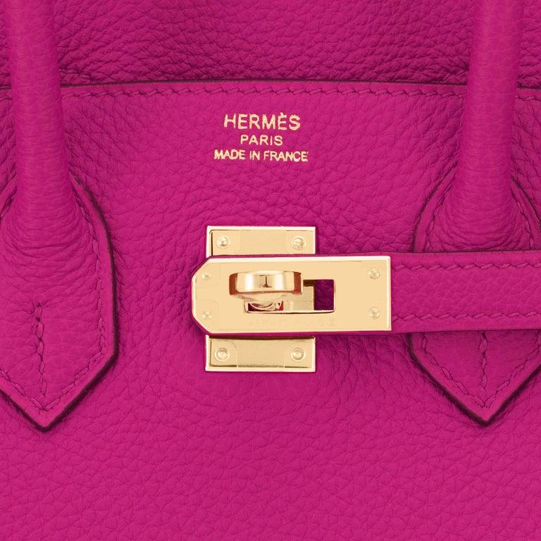 Hermes Birkin 25cm Rose Pourpre Togo Pink Gold Hardware Y Stamp, 2020 For Sale 5