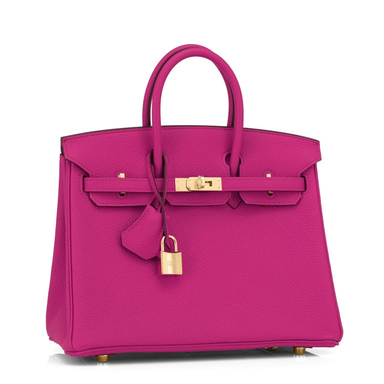 Hermes Birkin 25cm Rose Pourpre Togo Pink Gold Hardware Y Stamp, 2020 Just purchased from Hermes store; bag bears new interior 2020 Y Stamp. Brand New in Box. Store fresh. Pristine Condition (with plastic on hardware) Perfect gift!  Comes with keys,