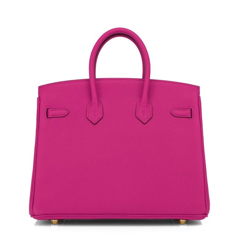 Women's Hermes Birkin 25cm Rose Pourpre Togo Pink Gold Hardware Y Stamp, 2020 For Sale
