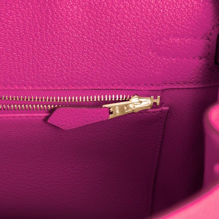 Hermes Birkin 25cm Rose Pourpre Togo Pink Gold Hardware Y Stamp, 2020 For Sale 4