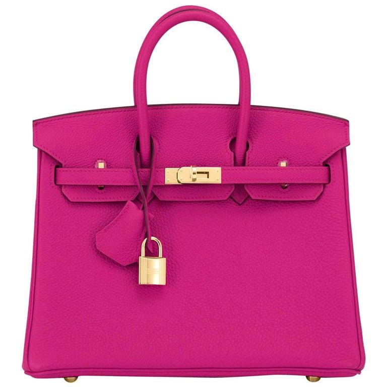Hermes Birkin 25cm Rose Pourpre Togo Pink Gold Hardware Y Stamp, 2020 For Sale