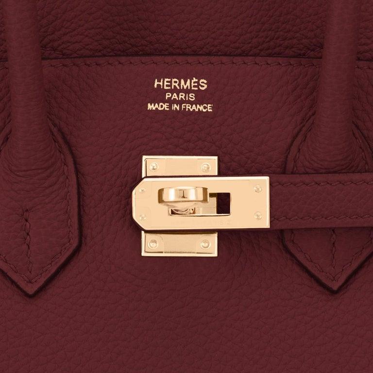 Hermes Birkin 25cm Rouge H Bordeaux Red Gold Hardware Bag Y Stamp, 2020 For Sale 5