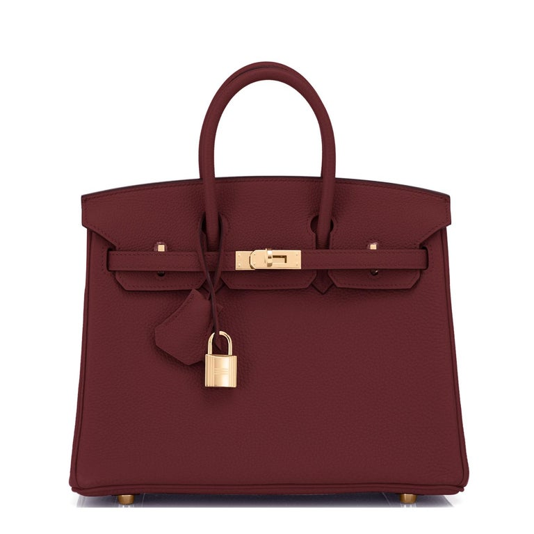 Hermes Birkin 25cm Rouge H Bordeaux Red Gold Hardware Bag Y Stamp, 2020 For Sale 6