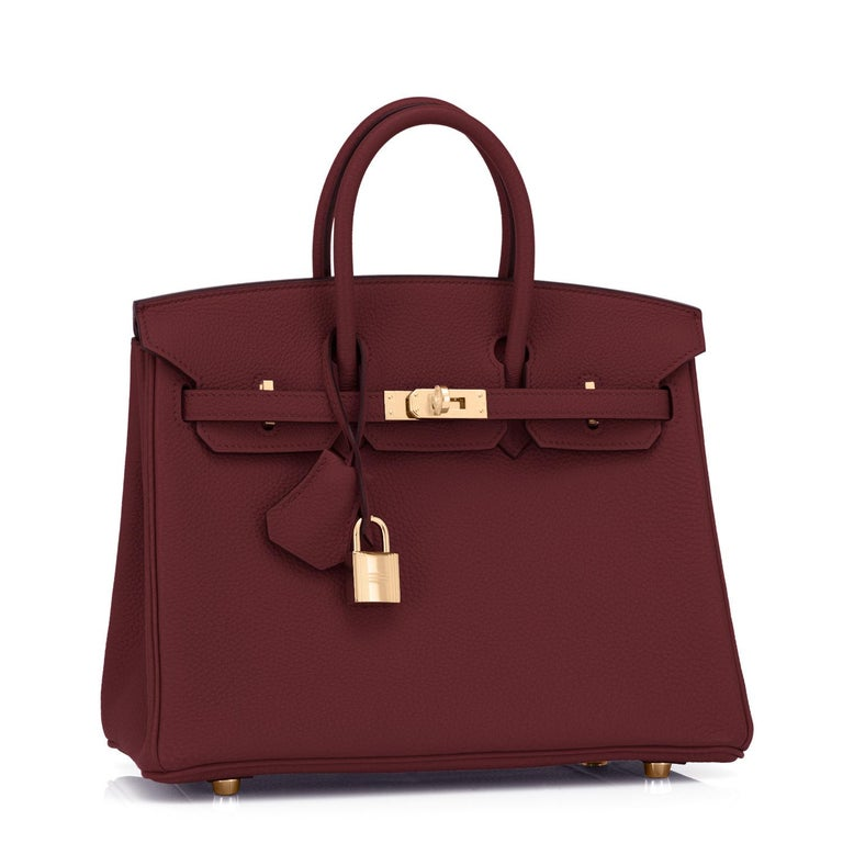 Hermes Birkin 25cm Rouge H Togo Gold Deep Bordeaux Red Birkin Bag Y Stamp, 2020 Just purchased from Hermes store; bag bears new 2020 interior Y Stamp. Brand New in Box. Store Fresh. Pristine Condition (with plastic on hardware). Perfect gift! Coming