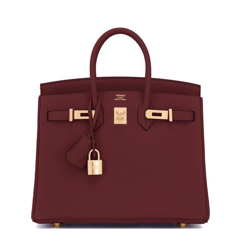 Brown Hermes Birkin 25cm Rouge H Bordeaux Red Gold Hardware Bag Y Stamp, 2020 For Sale