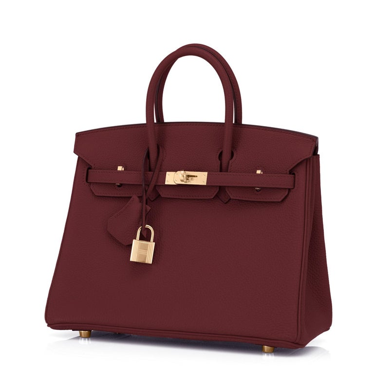 Hermes Birkin 25cm Rouge H Bordeaux Red Gold Hardware Bag Y Stamp, 2020 In New Condition For Sale In New York, NY