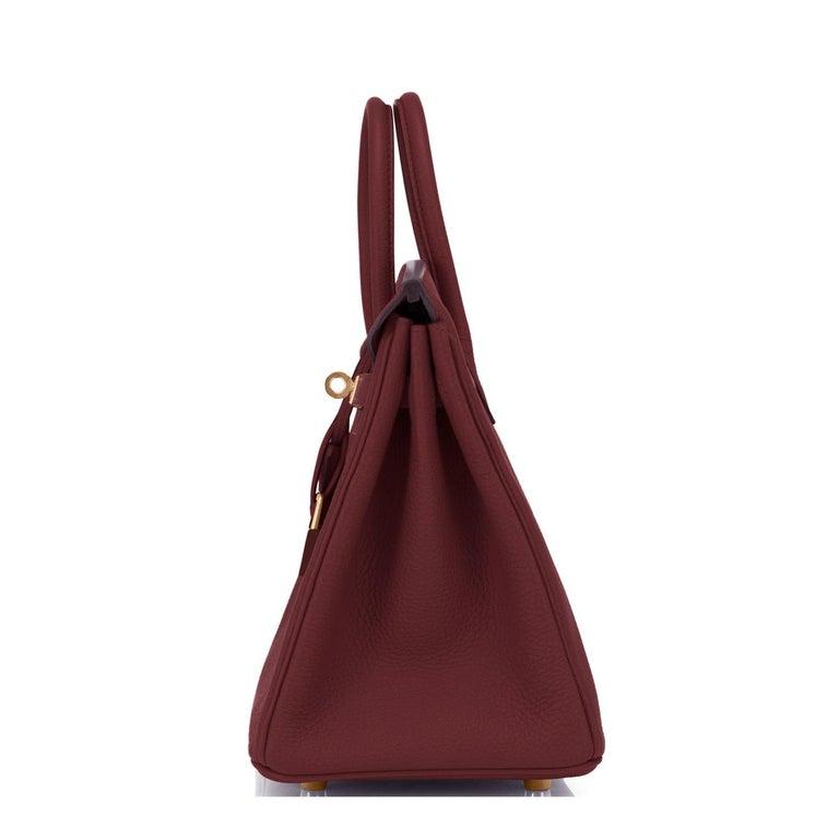 Women's Hermes Birkin 25cm Rouge H Bordeaux Red Gold Hardware Bag Y Stamp, 2020 For Sale