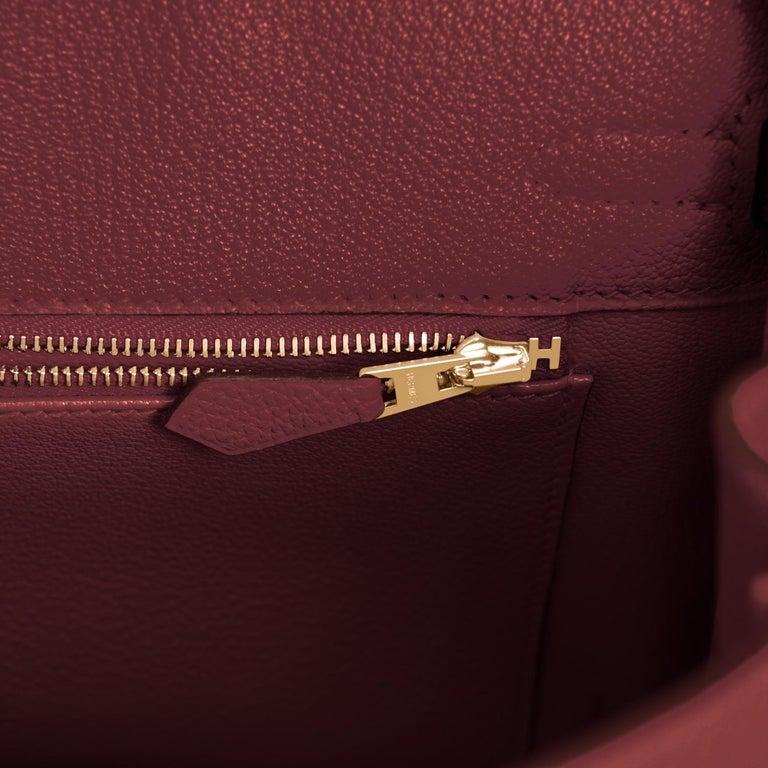 Hermes Birkin 25cm Rouge H Bordeaux Red Gold Hardware Bag Y Stamp, 2020 For Sale 4