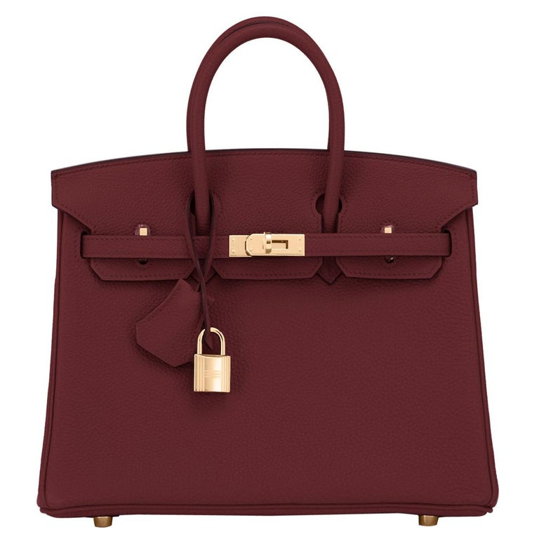 Hermes Birkin 25cm Rouge H Bordeaux Red Gold Hardware Bag Y Stamp, 2020 For Sale