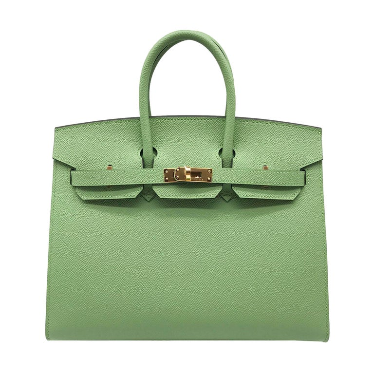 Brand: Hermès  Style: Birkin Sellier Size: 25cm Color: Vert Criquet Leather: Epsom Hardware: Gold  Condition: Pristine, never carried: The item has never been carried and is in pristine condition complete with all accessories.  Accompanied by: