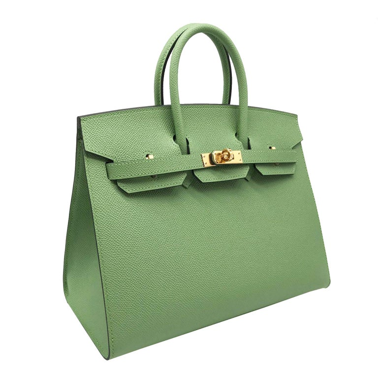 Green Hermès Birkin 25cm Sellier Vert Criquet Epsom Leather Gold Hardware For Sale