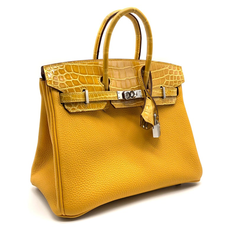Orange Hermès Birkin 25cm Touch Jaune Amber Togo Leather & Shiny Niloticus Crocodile For Sale