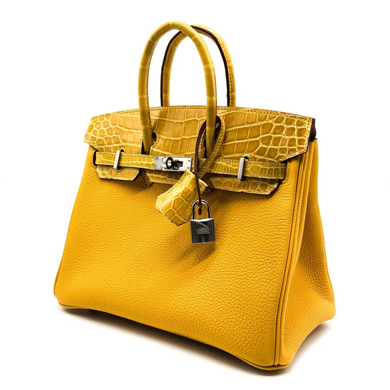 Hermès Birkin 25cm Touch Jaune Amber Togo Leather & Shiny Niloticus Crocodile In New Condition For Sale In Jakarta, IN