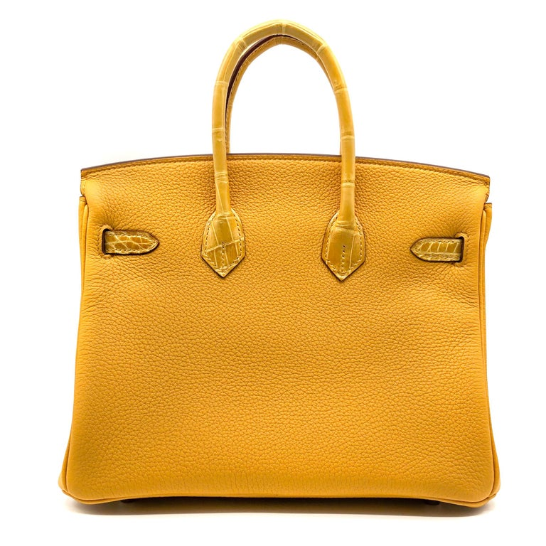Women's or Men's Hermès Birkin 25cm Touch Jaune Amber Togo Leather & Shiny Niloticus Crocodile For Sale