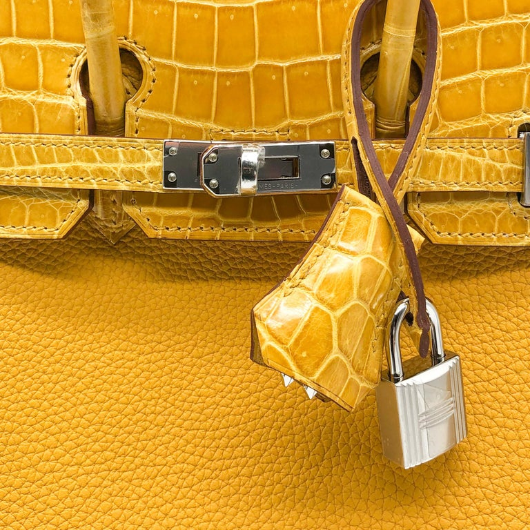 Hermès Birkin 25cm Touch Jaune Amber Togo Leather & Shiny Niloticus Crocodile For Sale 2
