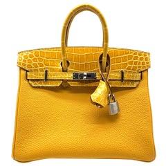 Hermès Birkin 25cm Touch Jaune Amber Togo Leather & Shiny Niloticus Crocodile