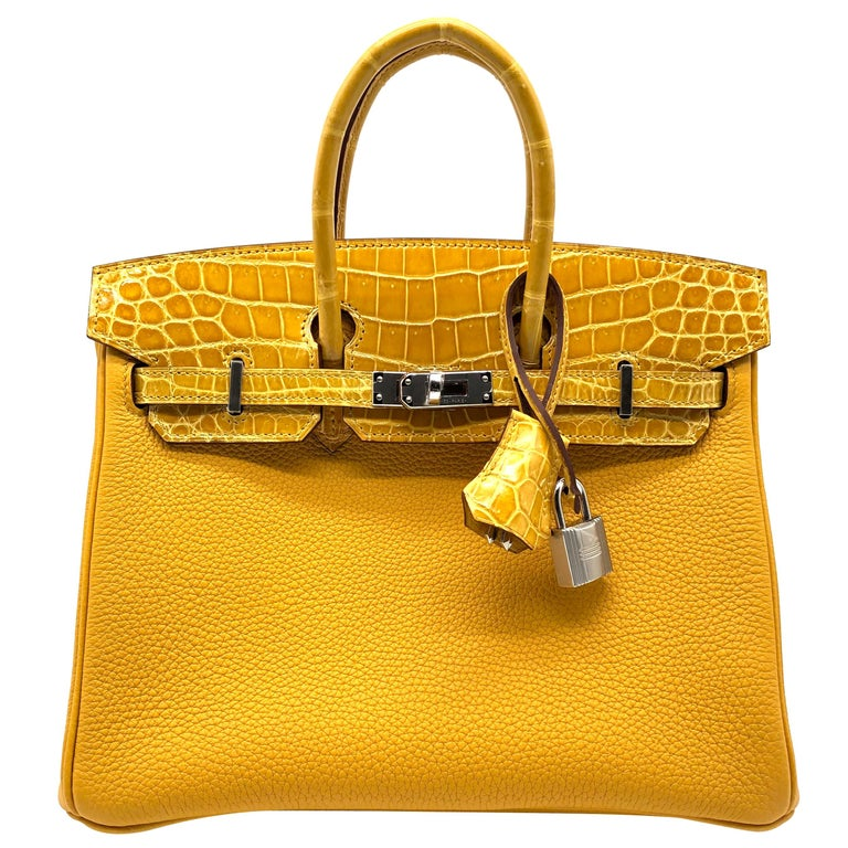 Hermès Birkin 25cm Touch Jaune Amber Togo Leather & Shiny Niloticus Crocodile For Sale