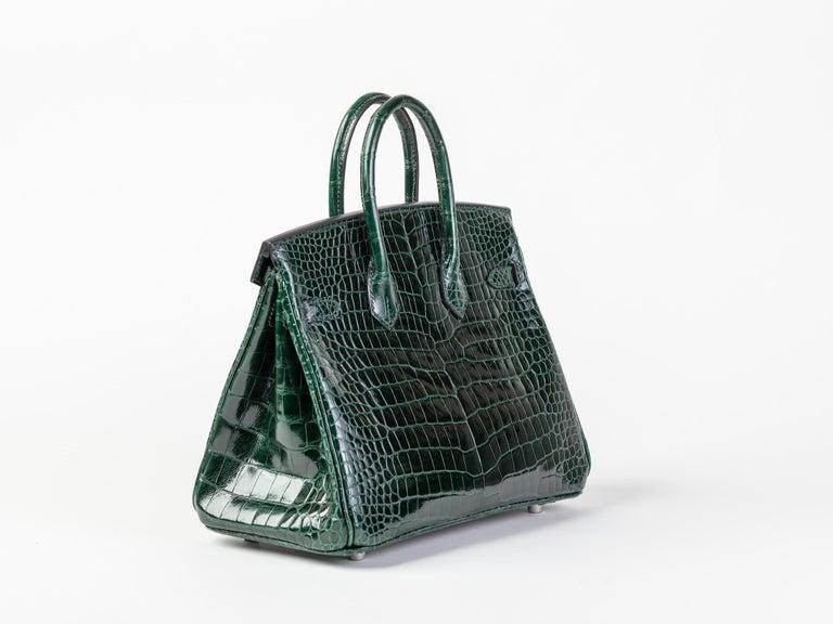 Black Hermes Birkin 25cm Vert Fonce Porosus with Diamond hardware For Sale