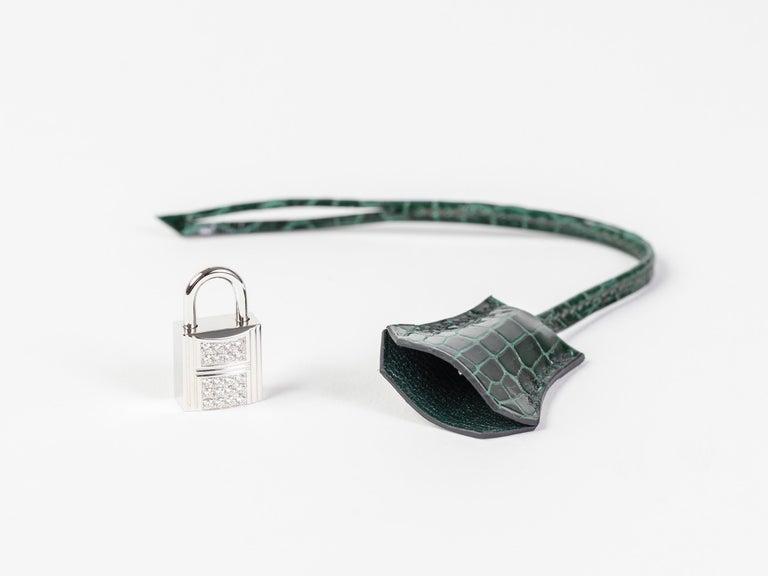 Hermes Birkin 25cm Vert Fonce Porosus with Diamond hardware For Sale 1
