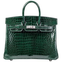 Hermes Birkin 25cm Vert Fonce Porosus with Diamond hardware