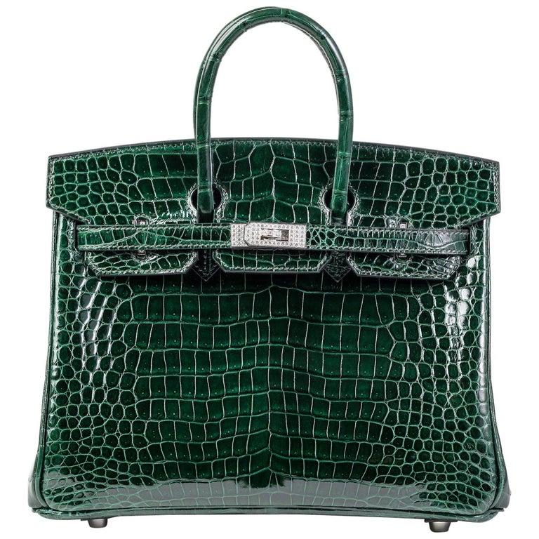 Hermes Birkin 25cm Vert Fonce Porosus with Diamond hardware For Sale