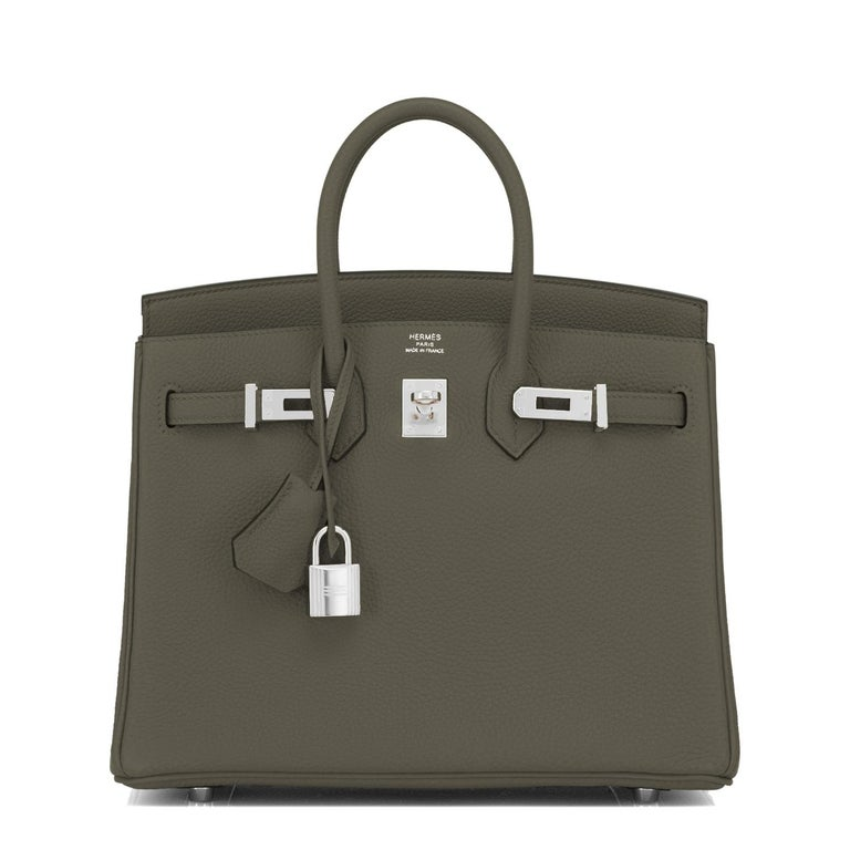 Hermes Birkin 25cm Vert Maquis Military Green Togo Palladium Bag Y Stamp, 2020  In New Condition For Sale In New York, NY