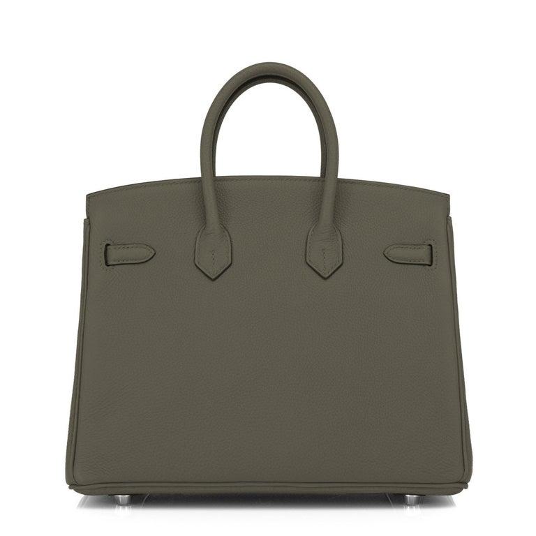 Hermes Birkin 25cm Vert Maquis Military Green Togo Palladium Bag Y Stamp, 2020  For Sale 1