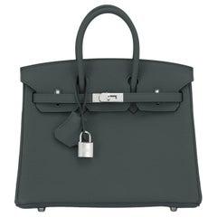 Hermes Birkin 25cm Vert Rousseau Togo Palladium Bag Deep Green Y Stamp, 2020