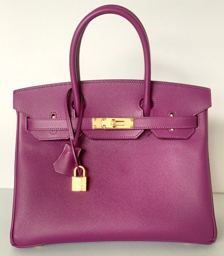 Pink Hermes Birkin 30 Anemone Purple Epsom Gold Hardware Exotic Beauty For Sale