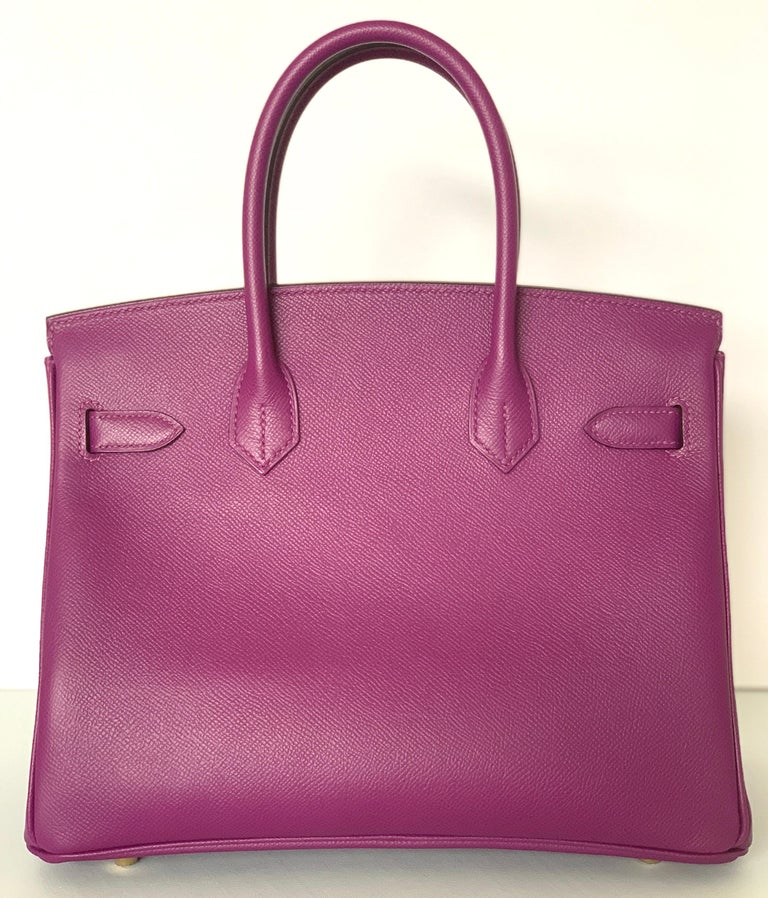 Hermes Birkin 30 Anemone Purple Epsom Gold Hardware Exotic Beauty In New Condition For Sale In Delray Beach, FL
