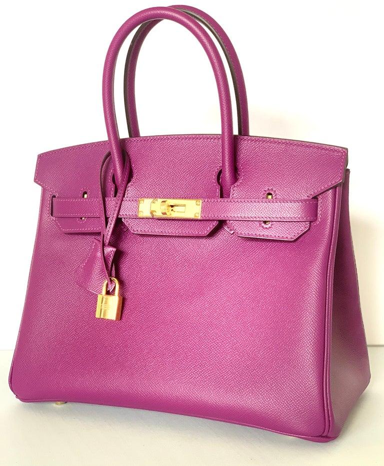 Women's or Men's Hermes Birkin 30 Anemone Purple Epsom Gold Hardware Exotic Beauty For Sale