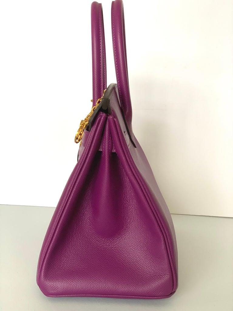 Hermes Birkin 30 Anemone Purple Epsom Gold Hardware Exotic Beauty For Sale 1