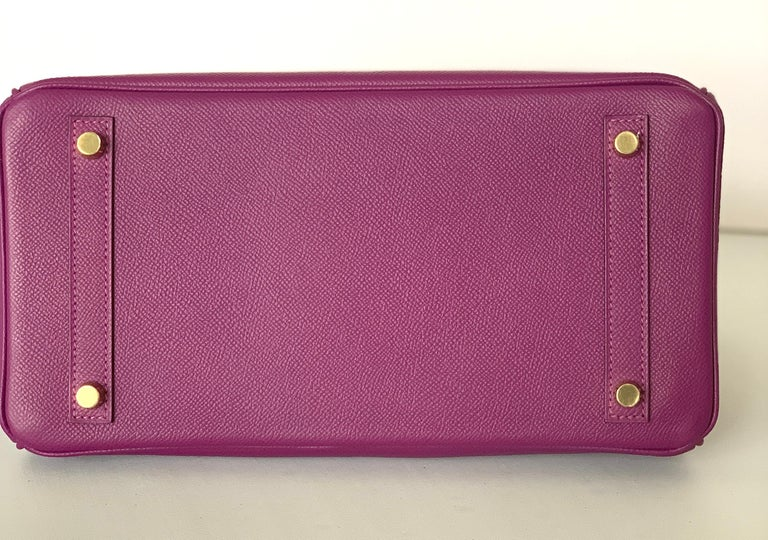 Hermes Birkin 30 Anemone Purple Epsom Gold Hardware Exotic Beauty For Sale 2