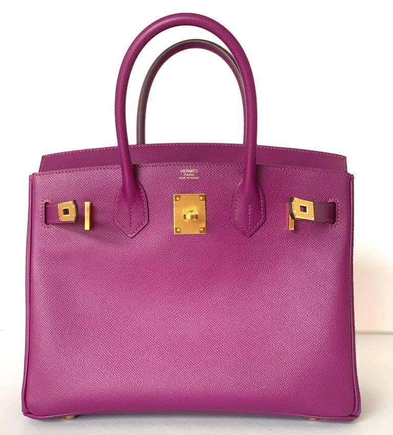 Hermes Birkin 30 Anemone Purple Epsom Gold Hardware Exotic Beauty For Sale 3